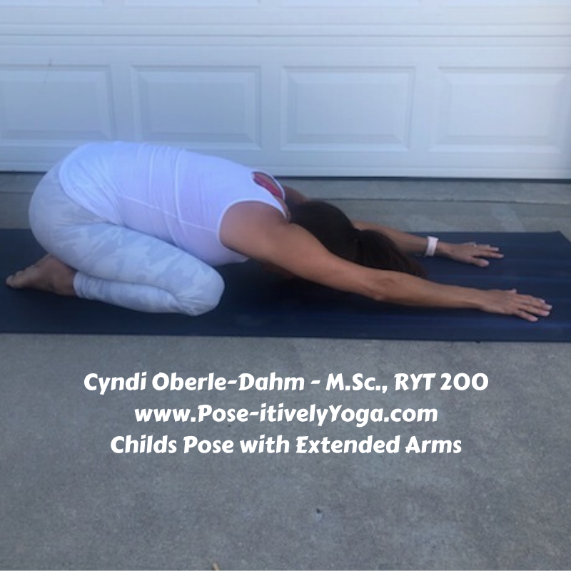 Childs Pose with Extended Arms on Pose-itivelyYoga.com