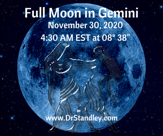 Full Moon in Gemini at 08 degrees 38 minutes on Nov. 30, 2020 on DrStandley.com