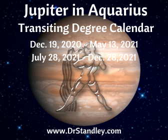 Jupiter is in Aquarius from Dec. 19, 2020 - May 13, 2021 and then from July 29, 2021 - Dec. 28, 2021 on DrStandley.com
